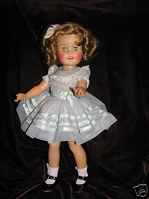 1950'S IDEAL DARLING SHIRLEY TEMPLE 15 DOLL BLUE PARTY DRESS TAGGED VG CONDITION