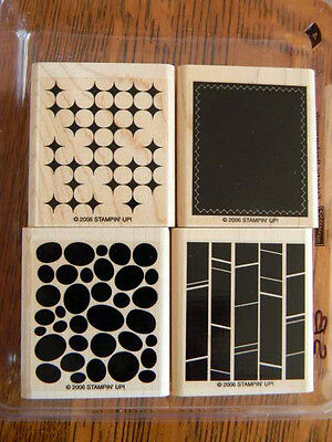 Stampin Up ECLECTIC BACKGROUNDS Rubber Stamp Set of 4 - NEW -