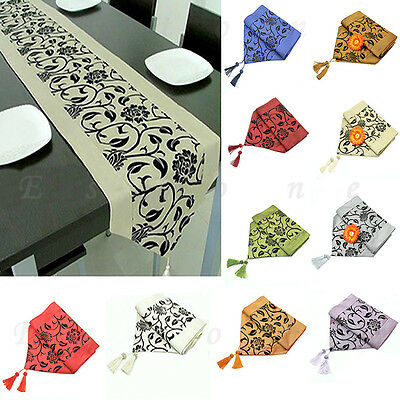SELL Raised Flower Blossom Flocked Damask Table Runner Cloth Wedding Decor HOT