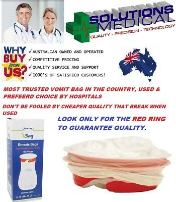 50  Sick Bags Vomit Bags Emesis Calibrated 1.5 Litre Red Ring Infection Control