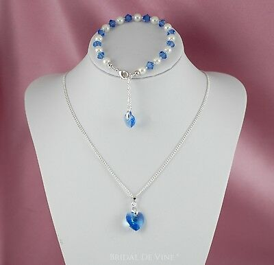 Bridesmaids Bracelet & Necklace Set Made with Swarovski Hearts and Crystals