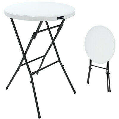 TABLE DE JARDIN Pliante - Table Bistrot - Blanc - Ronde D\'appoint ...