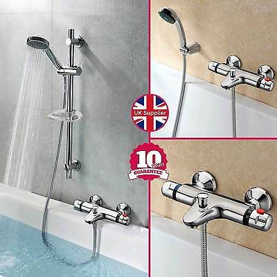 Chrome Wall Mounted Thermostatic Bath Shower Mixer + Riser Kit / 3 Mode Handset