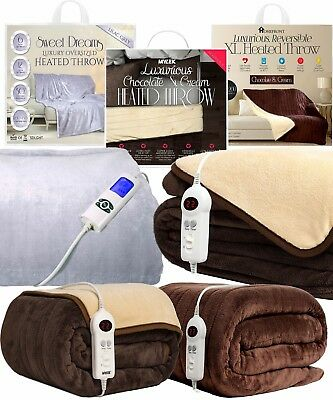 Electric Heated Throw Blanket Fleece Washable Led Control Warm Over Bed Sofa Rug