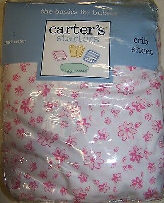 NEW CARTERS STARTERS WHITE w/ pink flowers Fitted Crib Sheet  Free US Shipping