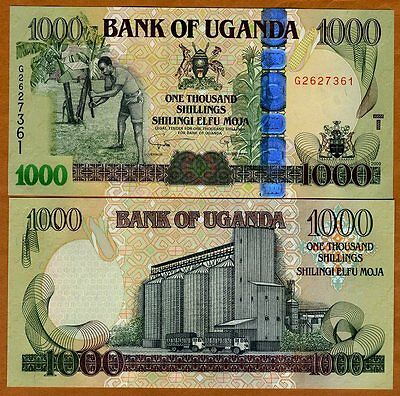 Uganda, 1000 (1,000) Shillings, 2009, Pick 43 (43b), UNC > Wide OVD
