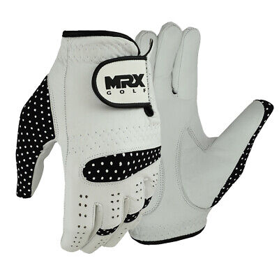 Ladies Golf Gloves Soft Fit Cabretta Leather Lycra Black White Glove Left Hand