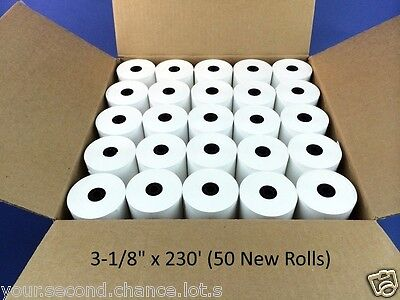 "BUY 9 GET 1 FREE • Case of 50 New Rolls 3-1/8"" x 230' Thermal Receipt Paper POS"