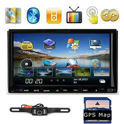 "CAMERA+7"" In Dash 2 Din Car Stereo DVD Player GPS Navigation Bluetooth Receiver"