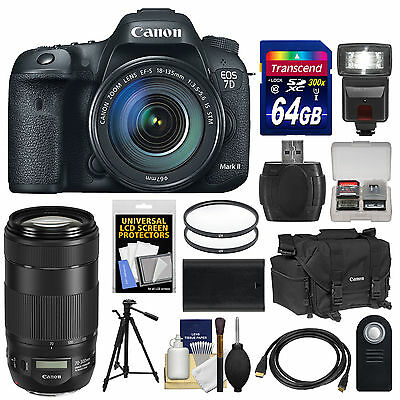 Canon EOS 7D Mark II GPS DSLR Camera & EF-S 18-135mm IS + 70-300mm Lens Kit USA