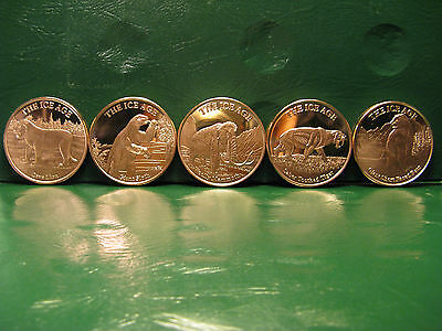 """""""ICE AGE"""" Series 5 1 oz .999 Copper Rounds (5 Different Animal Rounds)"""