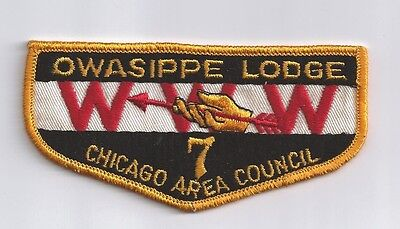 OWASIPPE LODGE 7  OLD TWILL 1960'S ERA  OA FLAP   CHICAGO ILL