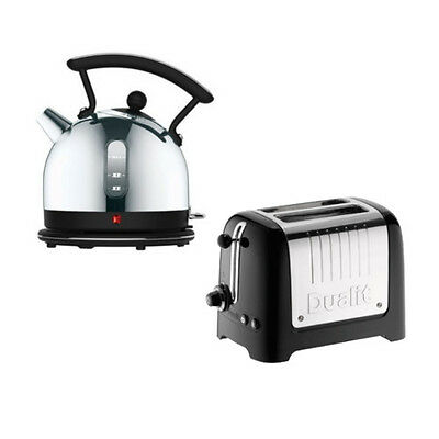 Dualit Lite 1.7L Stainless Steel Dome Kettle & 2 Slot Toaster Set Black Trim