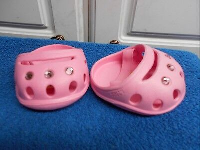 BUILD A BEAR PINK PLASTIC WITH BLING SHOES CROCS VGC CUTE