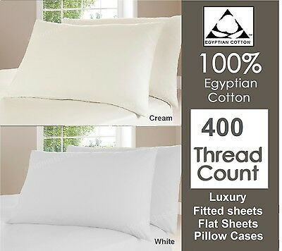 400 TC Thread Count 100% Egyptian Cotton Fitted, Flat Sheet Single Double King