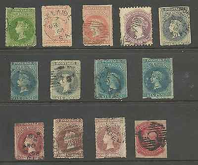 South Australia, 1860-9 Selection Of 13 Earlies Cat £350
