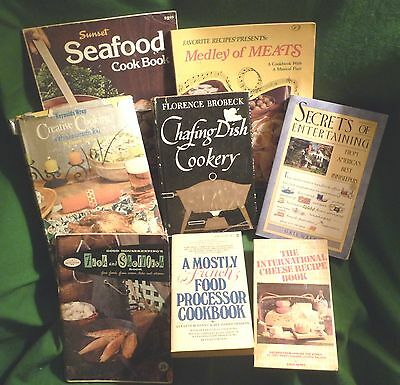 Cookbooks Fish Seafood Cheese Chafing Dish Reynolds Wrap Medley of Meat Lot of 8