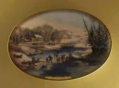 Currier & Ives Christmas AMERICAN WINTER SCENES - MORNING Plate Oval #3