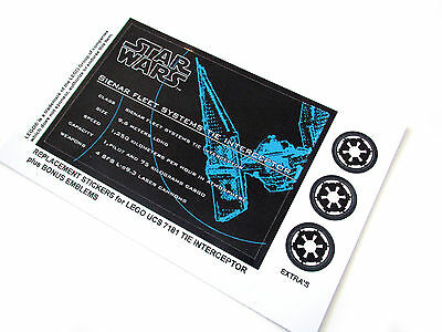 DIE CUT REPLACEMENT STICKERS for UCS Lego 7181 TIE INTERCEPTOR ,STAR WARS MODELS