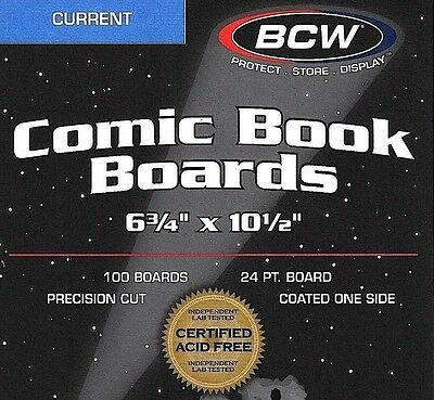 100 BCW Current Comic Boards  Acid Free  Modern Book Storage