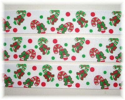 """7/8"""" CHRISTMAS RED GREEN PEPPERMINT CANDY CANE GROSGRAIN RIBBON 4 HAIRBOW BOW"""
