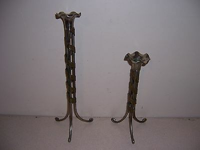 Antique Art Deco Brass & Chrome Tripod Candle Holders