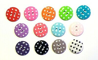 30 pcs Cute retro polka dot button size 15  mm assorted color
