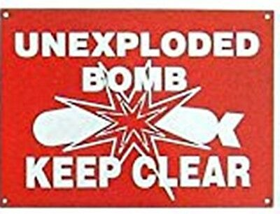 Unexploded Bomb enamelled steel wall sign  180mm x 130mm   (dp)