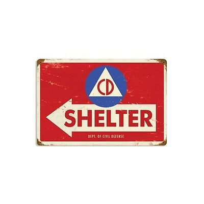 Civil Defense Shelter Arrow Metal Sign Distressed Vintage Military Decor 17 x 11