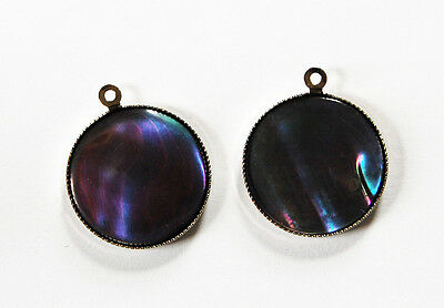 VINTAGE 2 SHELL ABALONE MOP PENDANT BEAD DROPS BEADS ROUND 18mm