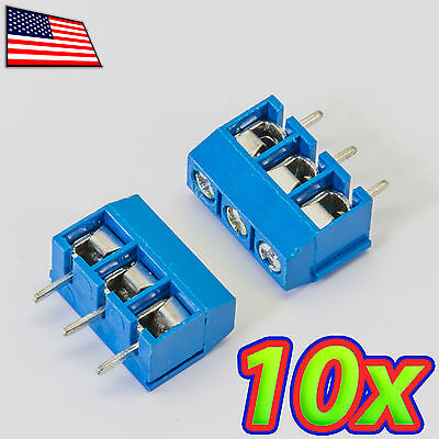 [10x] 3-Pin 5.08mm Pitch PCB Mount Screw Terminal Block Connector - 3P - 301-3P