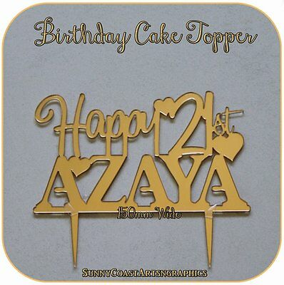 Gold Or Silver Happy Birthday Cake Toppers - Personalised Custom Laser Acrylic