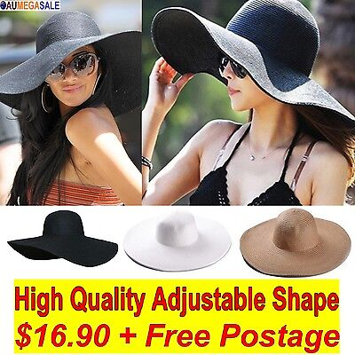 Women Hat Ladies Fashion Vintage Style Wide Large Brim Floppy  Sun Straw Hat