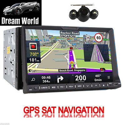 "Camera+High Def 7"" In Dash 2 Din Car Stereo DVD Player GPS Navi TV BT+4GB CARD"