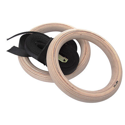 Pellor Wooden Olympic Gymnastic Rings Gym Sports Exercise Ring Fitness Max 250KG