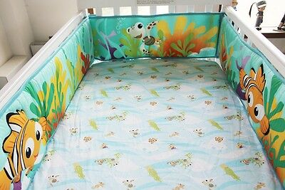 Baby Crib Cot Bassinette Bumper Padded & Quilted Full Surround 4pc Under the Sea
