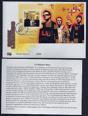 2002  U2  Miniature Sheet First Day Cover With Insert Irish Po Official - Scarce