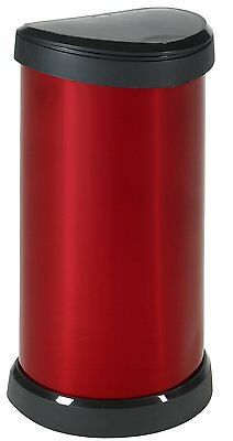 Large Red Kitchen Curver Deco 40L Litre Metal Effect One Touch Top Bin Bins