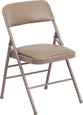 Lot Of 20 Triple Braced Beige Vinyl Upholstered Metal Folding Chair