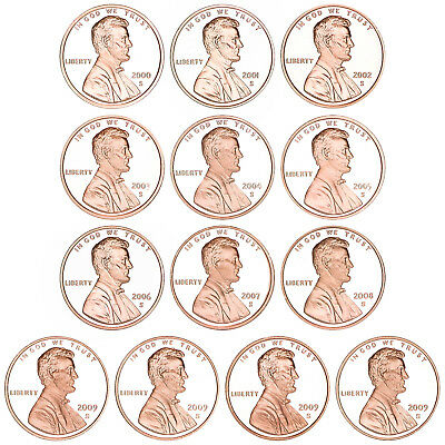 2000-2009 S Lincoln Memorial Cent Gem Deep Cameo Proof Run 13 Coin Set US Mint