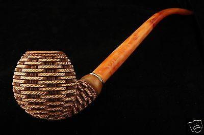 Deluxe Basket Churchwarden Hand Carved Block Meerschaum Pipe in a fit CASE 6132