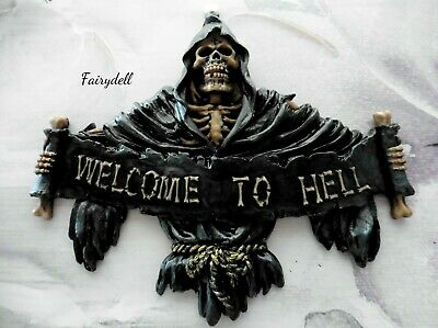 'welcome To Hell'  Grim Reaper Wall - Door Plaque  (Skull Skeleton)
