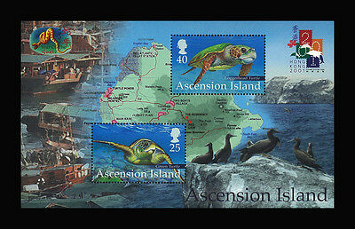 Ascension Island Stamp, 2001 ANI16 Year of the Snake Green Turtle Birds,S/S