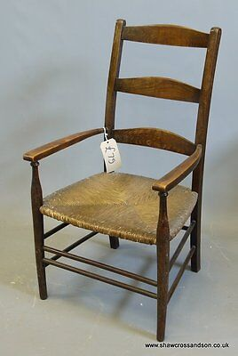 Small Antique Ladder Back Rush Cord Oak Chair