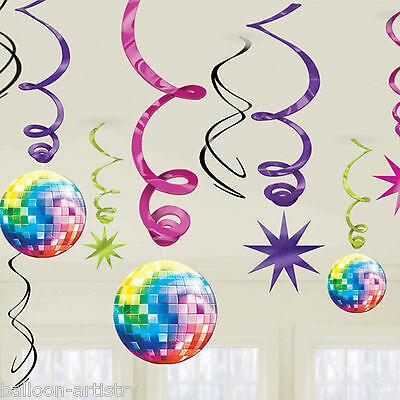12 Assorted Disco Fever 70's Themed Birthday Party Hanging Swirls Decorations