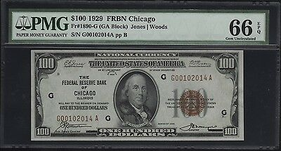 Fr1890-G $100 1929 Frbn Pmg 66 Epq Gem Unc Note (Only 5 This Grade) Wl7567