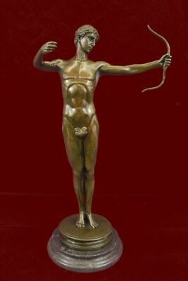 Signed~Mercie~Nude Roman Archer Bronze Sculpture Statue Home Decoration Sale