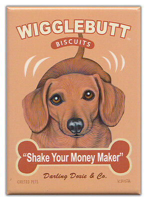 Retro Dogs Refrigerator Magnets: DACHSHUND   BISCUITS   Vintage Advertising Art