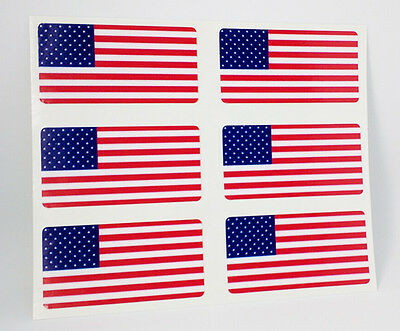 """6 American USA Flag Stickers for Hard Hat, Helmet, Tool / Lunch Box, 2"""" decals"""