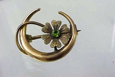 VICTORIAN GOLD FILLED CRESCENT WITH FLOWER INSIDE WITH GREEN STONE PIN